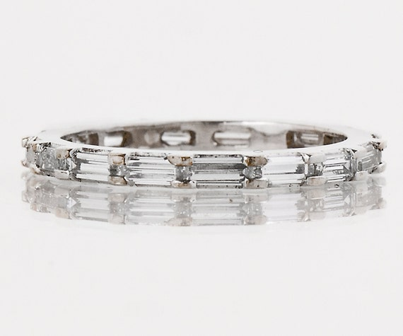 Vintage Wedding Band - Vintage 1940s Platinum Baguette Diamond Wedding Band