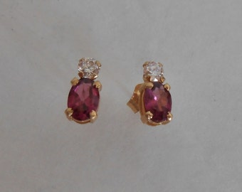 14K Gold Amethyst and CZ Post Earrings