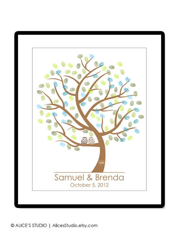 Wedding Tree Guest Book Alternative Poster, Love Birds, Owls, Fingerprints Guest Book, Free Gift with Purchase