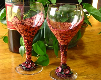 Wine Glasses (2) with Polymer Clay