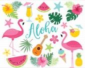 Flamingo Clipart - summer, beach, tropical plants, ice-cream, hibiscus, vector graphics, digital clip art, digital images, commercial use