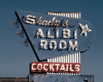 Vintage Los Angeles Photography/ Bar Decor/ Classic Bar Sign/ Color Photography Print