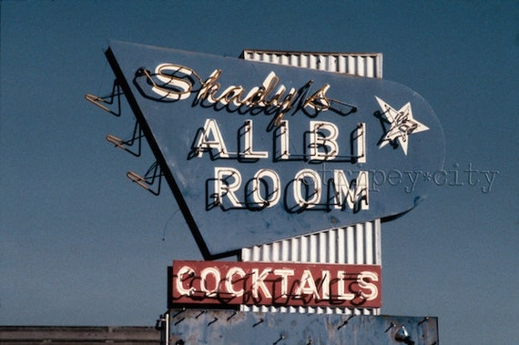 Vintage Los Angeles Photography/ Bar Decor/ Classic Bar Sign/ Color Photography Print