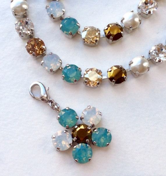 "Swarovski Crystal Necklace - Designer Inspired -  ""Pacific Dream""  - Add- On Flower Pendant -  FREE SHIPPING"