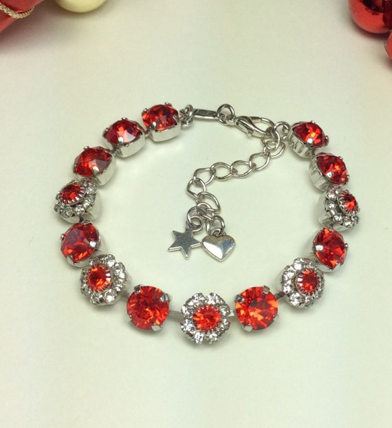 Swarovski Crystal 8.5mm Bracelet With Flowers - Valentine Red With Swarovski Flowers -  Designer Inspired   FREE SHIPPING