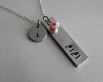 """gigi Necklace - Hand Stamped Bar Necklace """"gigi"""" with Crystal Pearl and Initial Charm - Grandmother Bar Necklace"""