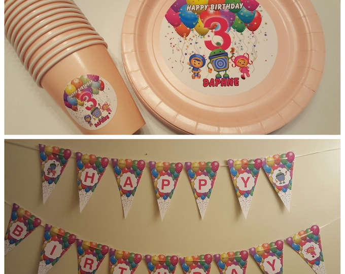 Team Umizoomi plates, cups and banner