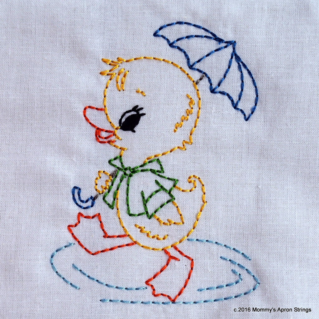 Vintage Duck With Umbrella Machine Embroidery Design 2 Sizes
