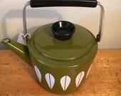 Avacado green Cathrineholm tea kettle, lotus design