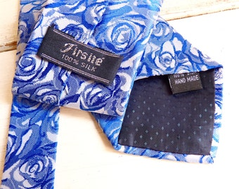 No 16: 1 Vintage SILK NECKTIE, Roses Pattern in Shades of Blue and Light Gray. Hand Made Designer Tie. Labeled Firsité.