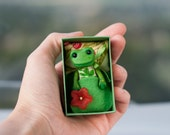 RESERVED for S. Tiny frog toy matchbox bed art green miniature dollhouse pocket cute animal poseable toy gift pet for kids BJD Blythe