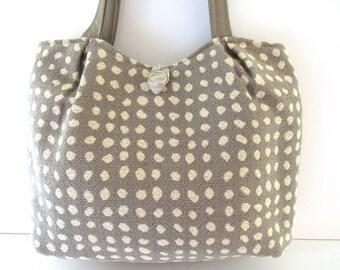 Taupe and Beige Polka Dot Tote Bag Shoulder Bag Everyday Bag Handbag Purse