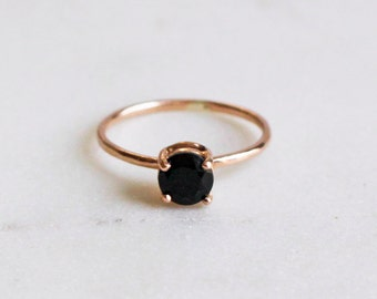 14K Rose Gold Solitaire Ring, Large Black Onyx, Rustic, Wedding Ring, Engagement Ring, Skinny Band