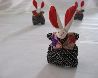 No.2 Rabbit Doll with Silk Kimono fabric