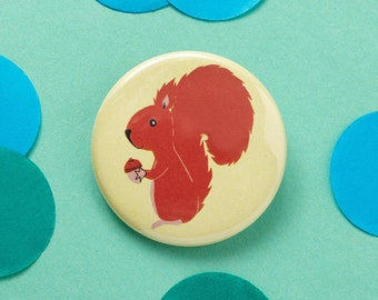 Mr Nuts red squirrel badge - Squirrel Pin - Animal Badge - Animal Pin