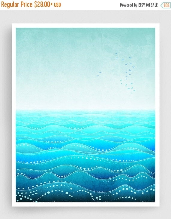 20% OFF SALE: Through all ages (vertical) - Art Illustration Print Poster Home decor Nature prints Kids wall art Love Turquoise sea prints O