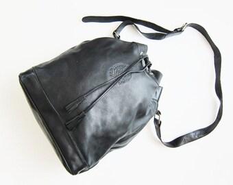 90s Ralph Lauren Black Leather Bucket Bag / Large Drawstring Purse / Minimalist