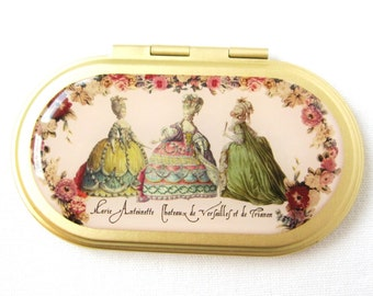 Vintage brass hand mirror Marie Antoinette and maids of honour Pocket mirror