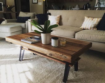 "Reclaimed Wood Coffee Table with Shelf - 48"" X 24"" X 18"" or 34x 22""x 18"""