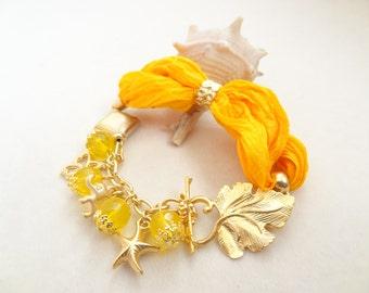 Sunshine Yellow Bracelet, Yellow Turkish Silk Bracelet, Gold Bracelet, Bohemian Elegant Bracelet, Leaf Motif Bracelet,Mother's Day Gift
