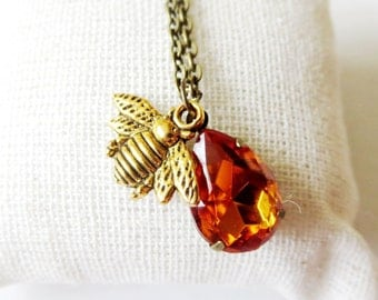 super sale Bumble Bee Charm Necklace -Bee Necklace- Nature inspired-  Busy  Bee necklace-FREE GIFT With PURCHASE