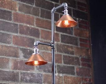 Copper Shade Floor Lamp - Industrial Floor Lamp -  Edison Bulb - Industrial Decor