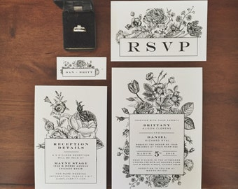 Vintage Botanical Inspired Wedding Invitations   Boho Weddings   Indie Weddings   Floral Invitations   Wedding Stationery