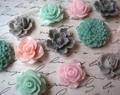Pastel Resin Flowers, 12 pcs, Cabochon Flowers, Soft Pinks, Greens and Grays, Resin Roses, Dahlias, Sakura, Perfect for DIY Jewelry Projects