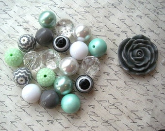 Chunky Necklace Kit, Mint Green, White, and Gray Gumball Bead Kit, Bubblegum Necklace Kit, DIY Necklaces, Fun Kids Project