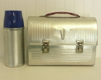 SET, NICE Vintage Aluminum Lunchbox W/ Thermos, Thermos Products USA, Domed Top, Red Plastic Handle