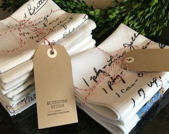 Recipe Tea Towel // Set of 3 // Custom Dish Towel, Handwritten Recipes