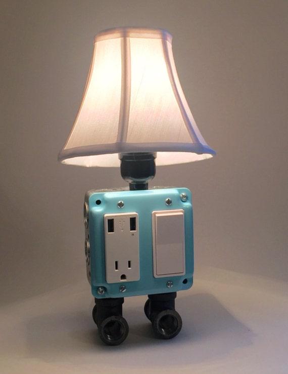 Ocean Blue Industrial Lamp USB Charging Station Lighting