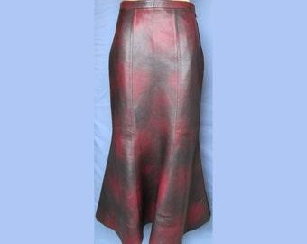 Burgundy Long Godet Leather Skirt 100% Genuine Italian leather