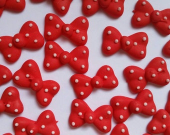 Red polka dot bows: 12 pieces  -- Edible cupcake toppers cake decorations cake pops Minnie Mouse