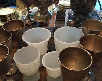 Reserved for Julianna /4 Milk Glass Vases/2 Silver Plate Champagne Urns/ 8 Silver Plate  Goblets/Wedding Decorations