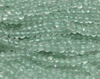 Green Prasiolite (Green Amethyst) Faceted Rondelle Beads 3mm