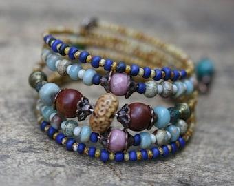 Rustic Beaded Boho *Gypsy Allegory* Series Bangle Stack Bracelet n27- pink festive bracelet . carved floral bone . artisan bohemian layered