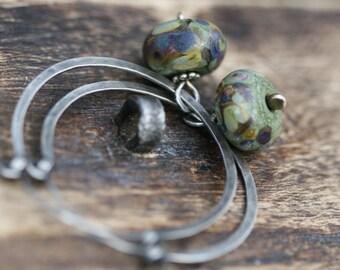 Rustic Sterling Silver Lampwork Hoops earrings n70- earthy hoops . organic hoops . gypsy hoops . green earthy lamp work . artisan boho hoops