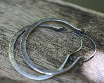 Rustic Artisan Sterling Silver 'For all Seasons' Hoops earrings- hand textured medium hoops . large hoops  thick hoops sterling silver hoops
