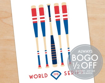 World Series Print, Champions Baseball Bat, customize to any World Series year, father's day gift ideas, gift for husband, baseball fan