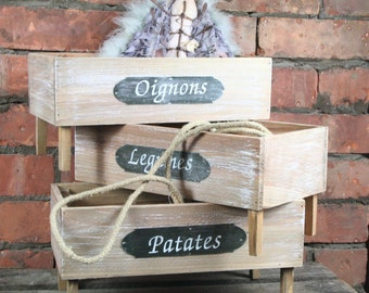 Set of 3 Wooden Box Kitchen Decoration Vintage
