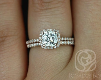 Barra 6mm 14kt Rose Gold Cushion Moissanite and Diamonds Halo Wedding Set (Other metals and stone options available)
