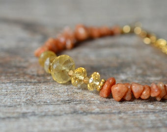 Sunstone and citrine bracelet Rust and yellow semi precious gemstone bracelet Gemstone bead bracelet Weekend business casual jewelry