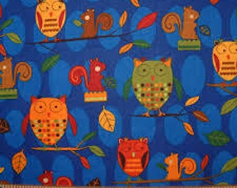 """Animal Party Too!  - Owl & Squirrels on Blue, 44"""" x 39"""" - Amy Schimler for Quilts for Kids by Robert Kaufman"""