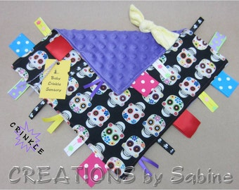 Sugar Skull Baby Crinkle Sensory Tag Blanket Toy Ribbon Skulls Colorful Pink Girl Purple Cool Tattoo Day of the Dead / READY TO SHIP (261)