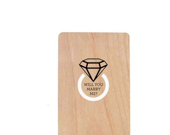 Will You Marry Me Wood Laser-Cut Card