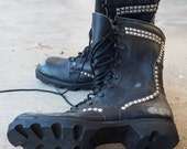 Vintage Studded Combat/Military Boots - Mens 7.5 / Womens 9 (Sick!)