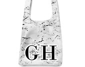 Monogram Marble print tote - Sports letters