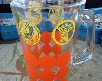 Vintage (Rare) PYREX Corning FolkArt Glassware c1960s 16.9 oz Pitcher