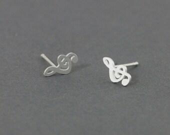Treble Earrings - Treble Stud Earrings - handmade in sterling silver